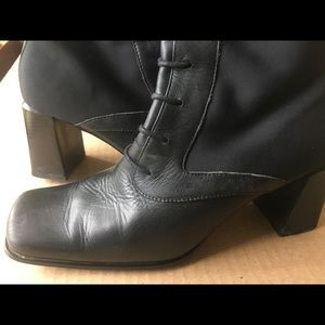 6.5 ME TOO black leather chunky heel granny boots